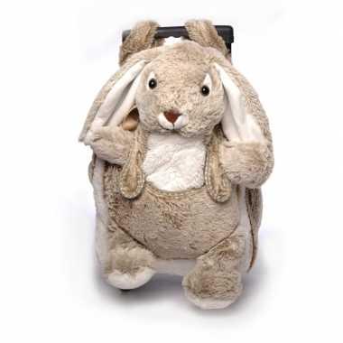 Pluche kindertrolley/rugtas bruin konijn/haasje 35 x 25 x 13 cm