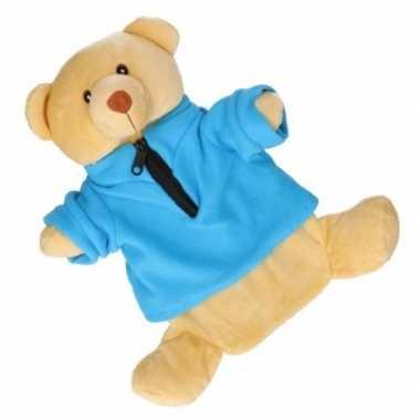 Pluche kruik beige beer met trui