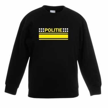 Politie logo sweater zwart voor kinderen