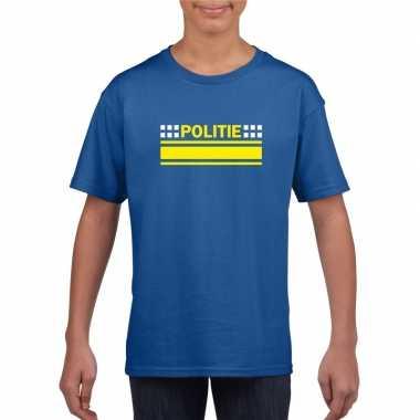 Politie logo t-shirt blauw voor kinderen