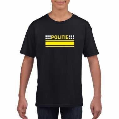 Politie logo t-shirt zwart voor kinderen