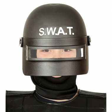 Politie swat verkleed helm met vizier voor kinderen zwart