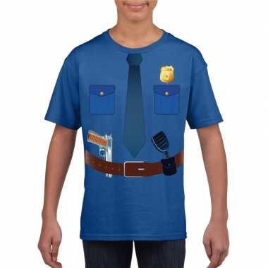 Politie uniform kostuum t-shirt blauw voor kinderen