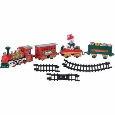 Rijdende trein met wagonnetjes en rails 39-delig kersttrein