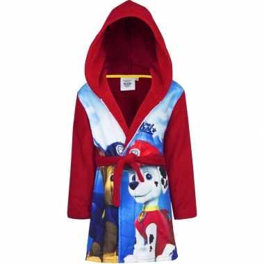 Rode paw patrol badjas met capuchon voor jongens
