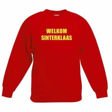 Rode sinterklaas trui sweater welkom sinterklaas voor kinderen