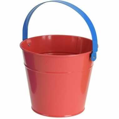 Rode stalen speelgoed emmer 16 cm voor kinderen