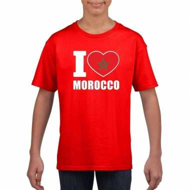 Rood i love marokko fan shirt kinderen