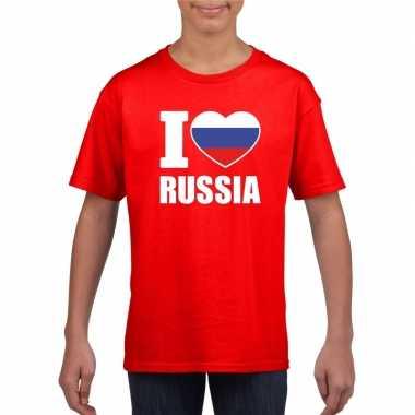 Rood i love rusland fan shirt kinderen