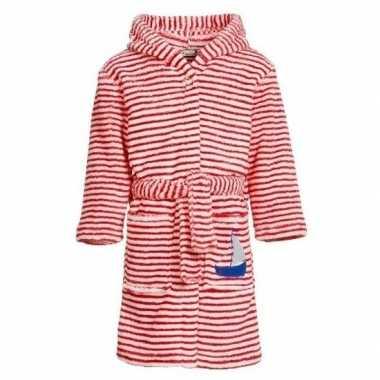 Rood/witte badjas/ochtendjas met strepen voor kinderen