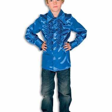 Rouches blouse kobalt voor jongens
