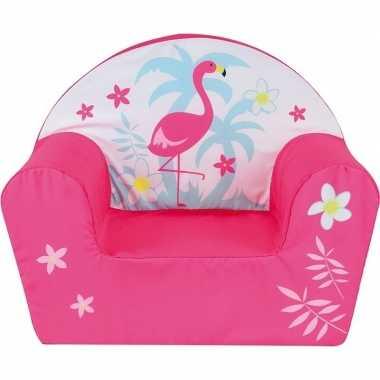 Roze flamingo kinderstoeltje 42 cm kinderkamer decoratie
