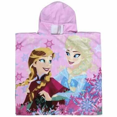 Roze frozen elsa en anna badcape met capuchon voor meisjes