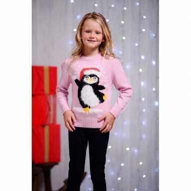 Roze kersttrui voor kinderen dansende pinguin