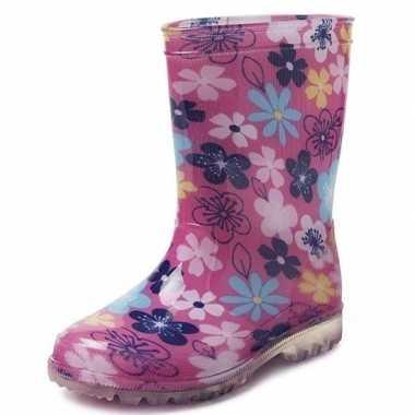 Roze met gekleurde bloemen kinder regenlaarzen