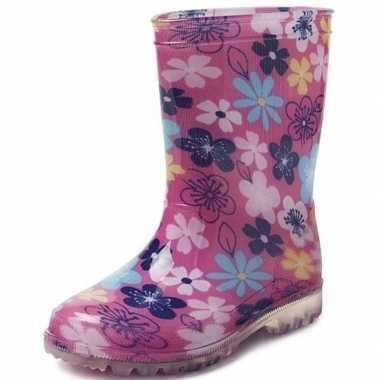 Roze met gekleurde bloemen kleuter/kinder regenlaarzen