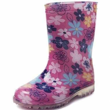 Roze met gekleurde bloemen peuter/kinder regenlaarzen