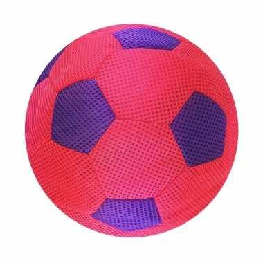 Roze/paarse zachte mesh speelgoed bal voor kinderen 23 cm