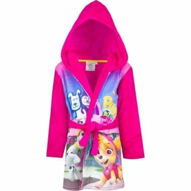 Roze paw patrol badjas met capuchon voor meisjes