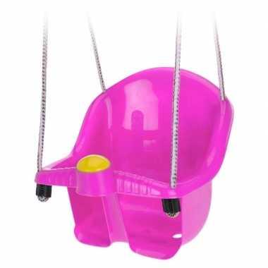 Roze peuterschommel met touw