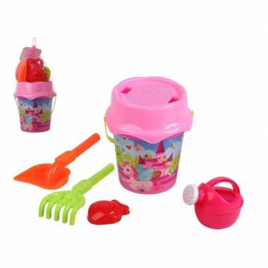 Roze prinsessen strandemmer/zandbak speelset voor kinderen