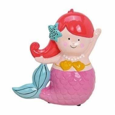 Roze/rode zeemeermin spaarpot 17 cm