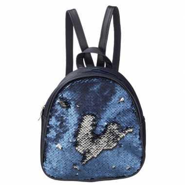 Rugzak/schooltas blauw met pailletten 19 cm voor meisjes