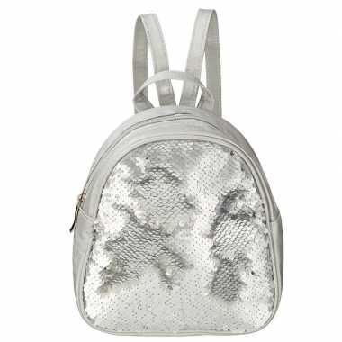 Rugzak/schooltas zilver met pailletten 19 cm voor meisjes