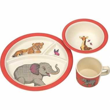 Safari dieren thema bamboe kinderservies set 3-delig