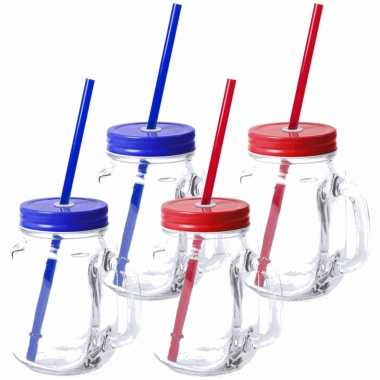 Set van 10x glazen drinkbekers dop/rietje 500 ml blauw/rood
