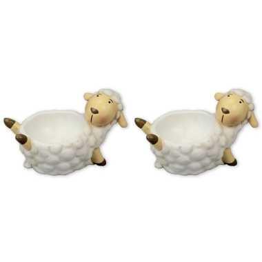 Set van 2x stuks eierdopjes liggend schaap/lammetje 9 cm
