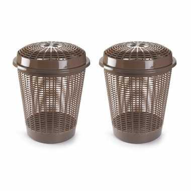 Set van 2x stuks ronde wasmanden met deksel van 50 liter in het taupe bruin