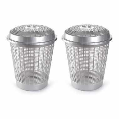 Set van 2x stuks ronde wasmanden met deksel van 50 liter in het zilver