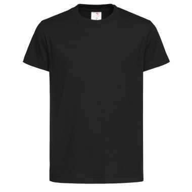 Set van 2x stuks zwarte kinder t-shirts 100% katoen, maat: 122-128 (s)