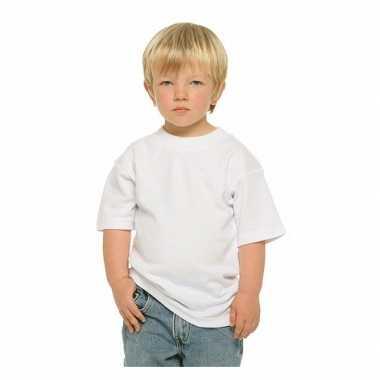Set van 4x stuks basic wit kinder t-shirt 100% katoen, maat: s (122-128)