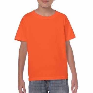 Set van 5x stuks oranje kinder t-shirts 150 grams 100% katoen, maat: 134-140 (m)