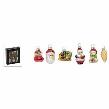 Set van 6 stuks kersthangers figuurtjes van glas 5 cm type 1