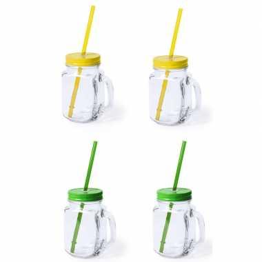 Set van 8x glazen drinkbekers dop/rietje 500 ml geel/groen