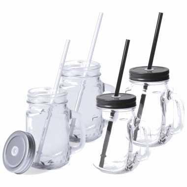 Set van 8x glazen drinkbekers dop/rietje 500 ml zwart/zilver