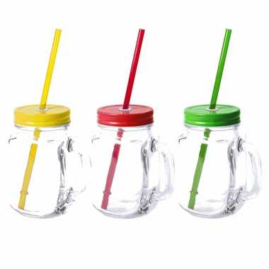 Set van 9x glazen drinkbekers dop/rietje 500 ml geel/groen/rood