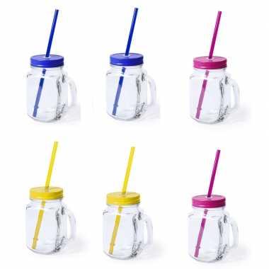 Set van 9x glazen drinkbekers dop/rietje 500ml geel/blauw/roze