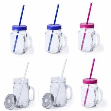 Set van 9x glazen drinkbekers dop/rietje 500ml zilver/blauw/roze
