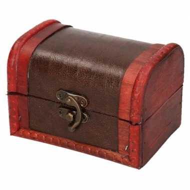 Sieraden kistje roodbruin voor kinderen 11 cm