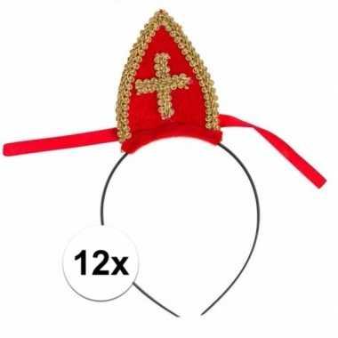 Sinterklaas 12 x sinterklaas diadeem met mijter voor kinderen