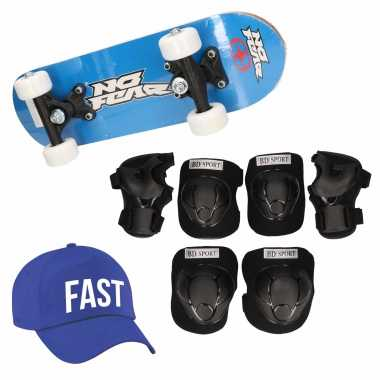 Skateboard set voor kinderen l 9-10 jaar/valbescherming/fast pet/skateboard met print 43 cm blauw