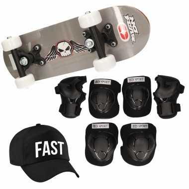 Skateboard set voor kinderen l 9-10 jaar/valbescherming/fast pet/skateboard met print 43 cm grijs