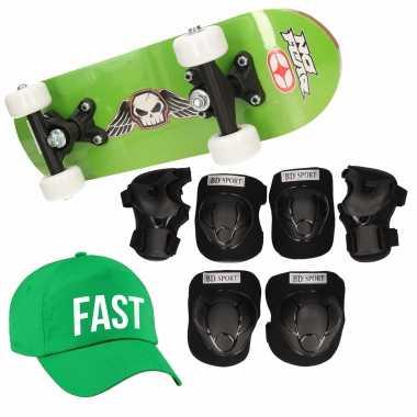 Skateboard set voor kinderen l 9-10 jaar/valbescherming/fast pet/skateboard met print 43 cm groen