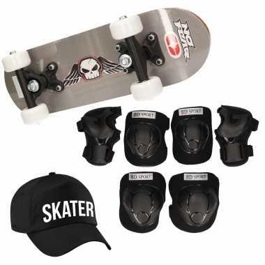 Skateboard set voor kinderen l 9-10 jaar/valbescherming/skater pet/skateboard met print 43 cm grijs