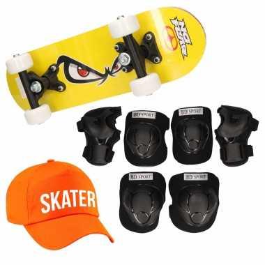 Skateboard set voor kinderen m 6-8 jaar/valbescherming/skater pet/skateboard met print 43 cm geel