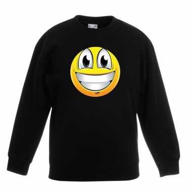 Smiley sweater super vrolijk zwart kinderen
